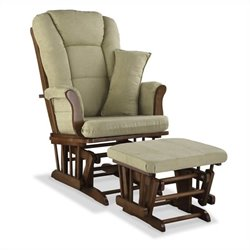Stork Craft Tuscany Custom Glider and Ottoman in Dove Brown and Sage