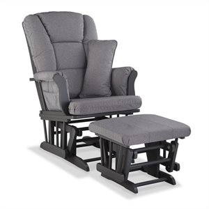 Stork Craft Tuscany Custom Glider and Ottoman in Gray and Slate Gray