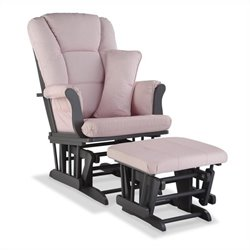 Stork Craft Tuscany Custom Glider and Ottoman in Gray and Pink Blush
