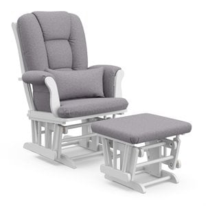 Stork Craft Tuscany Custom Glider and Ottoman in White and Slate Gray
