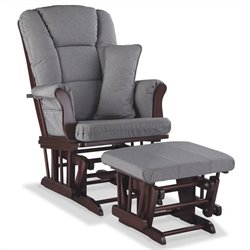 Stork Craft Tuscany Custom Glider and Ottoman in Cherry and Slate Gray