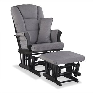 Stork Craft Tuscany Custom Glider and Ottoman in Black and Slate Gray