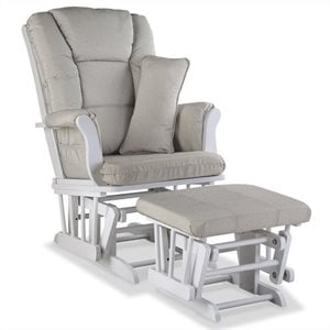 Stork Craft Tuscany Custom Glider and Ottoman in White and Taupe