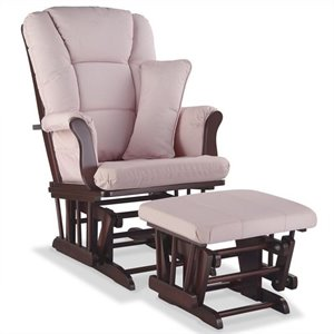 Stork Craft Tuscany Custom Glider and Ottoman in Cherry and Pink Blush