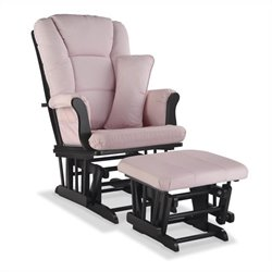 Stork Craft Tuscany Custom Glider and Ottoman in Black and Pink Blush