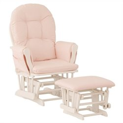 Stork Craft Custom Hoop Glider and Ottoman in White and Pink