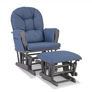 Custom Glider and Ottoman in Gray and Denim