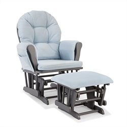 Stork Craft Hoop Custom Glider and Ottoman in Gray and Light Denim