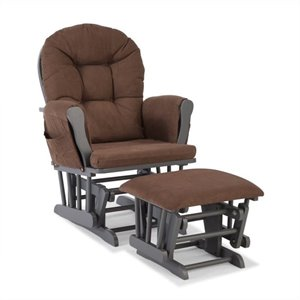 Custom Glider and Ottoman in Gray and Chocolate