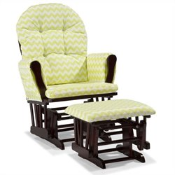 Stork Craft Hoop Custom Glider and Ottoman in Cherry and Citron Green