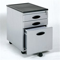 3 Drawer Metal Filing Cabinet in Silver and Black