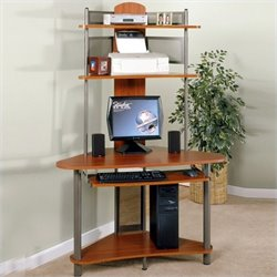 Studio RTA A-Tower Corner Wood Computer Desk with Hutch in Pewter and Cherry