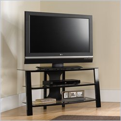 Studio RTA Mirage Panel TV Stand in Black-Clear Glass