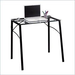 Studio RTA Beginnings Desk in Black and Clear Glass