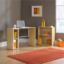 Studio RTA Desk with Adjustable Bookcase in Rice and White Oak