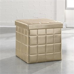 Studio RTA Soft Modern Upholstered Storage Ottoman in Champagne Metallic