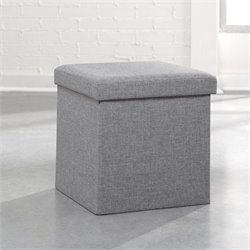 Upholstered Storage Ottoman in Light Gray