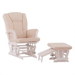 Status Furniture Veneto Glider with Nursing Stool Ottoman - White with Beige Cushions