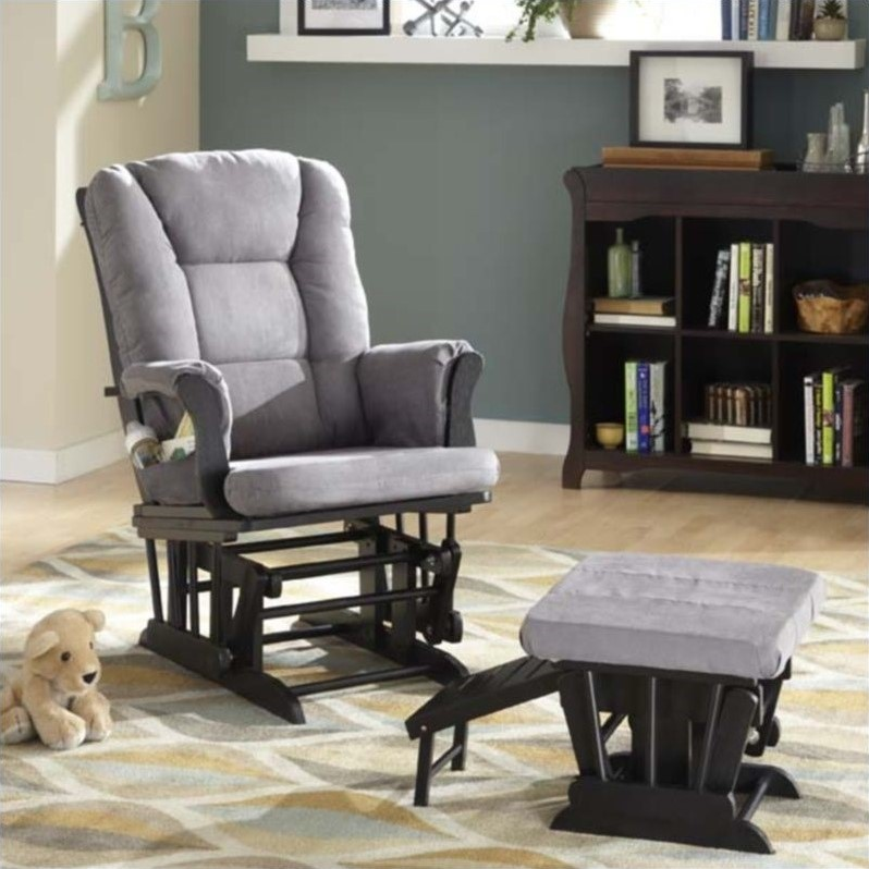 Veneto Glider with Nursing Stool Ottoman - Black with Grey Cushions