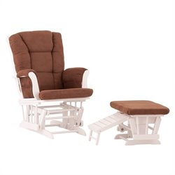 Status Furniture Veneto Glider and Ottoman in White with Chocolate Cushions