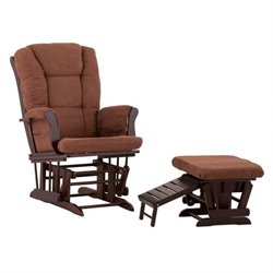 Status Furniture Veneto Glider with Nursing Stool Ottoman - Espresso with Chocolate Cushions