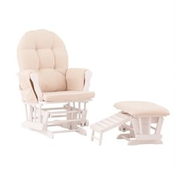 Status Furniture Roma Glider with Nursing Stool Ottoman - White with Beige Cushions