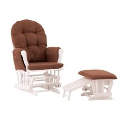 Status Furniture Roma Glider with Nursing Stool Ottoman - White with Chocolate Cushions