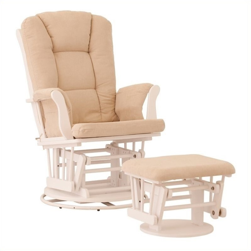 Status Furniture Milano Swivel Glider with Ottoman - White with Beige Cushions