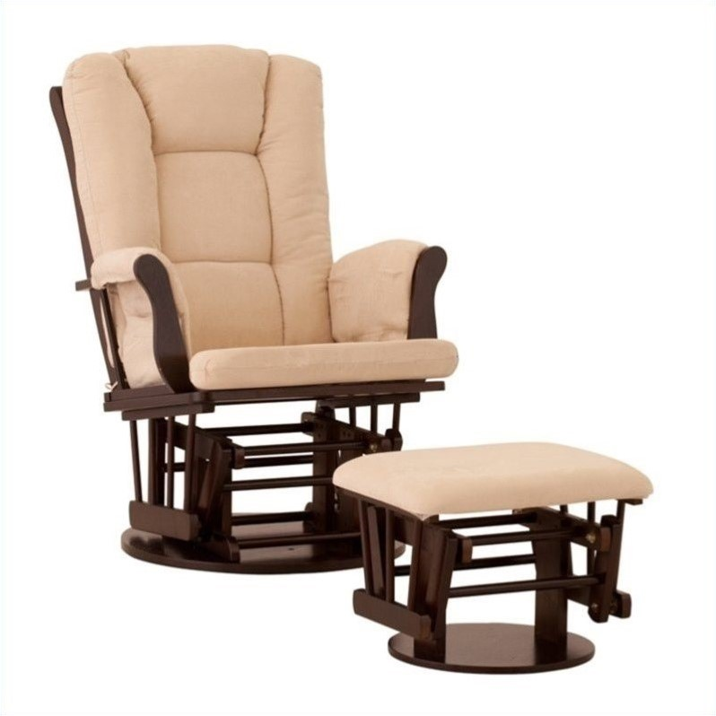 Status Furniture Milano Swivel Glider with Ottoman - Espresso with Beige Cushions