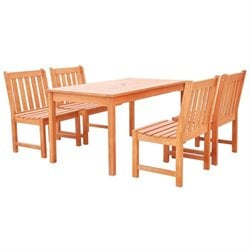 Vifah Malibu 5 Piece Patio Dining Set in Natural