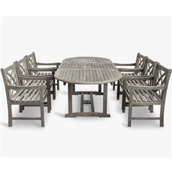 Vifah Renaissance 7 Piece Oval Extendable Patio Dining Set in Gray