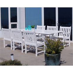 Vifah Bradley 7 Piece Extendable Patio Dining Set in White