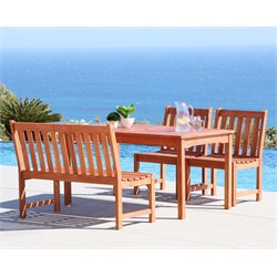 Vifah Malibu 4 Piece Hardwood Patio Dining Set