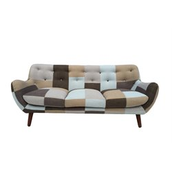 Vifah Naples Bridgewater Sofa in Gray Brown and Blue