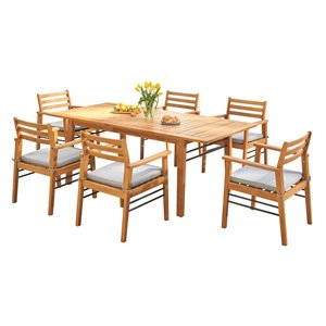 Vifah Gloucester Contemporary 7-Piece Solid Wood Patio Dining Set in Natural