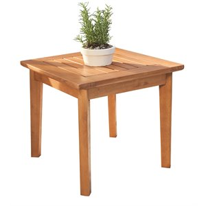 Vifah Gloucester Contemporary Solid Wood Patio End Table in Golden Oak