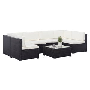 Vifah Venice 6-Piece Wicker Patio Sectional Sofa with Cushions in Black