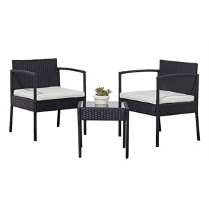 Vifah Tierra 3-Piece Wicker Patio Coffee Lounger Set with Cushion in Black