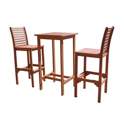 Vifah Dartmoor 3 Piece Wood Patio Dining Set