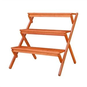 Vifah Outdoor Wood Three-Layer Plant Stand