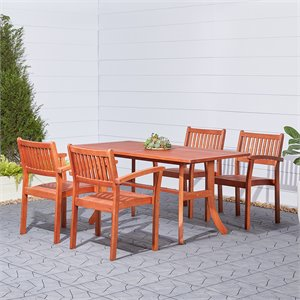 Vifah Balthazar Dining Set with 4 Folding Bistro Chairs