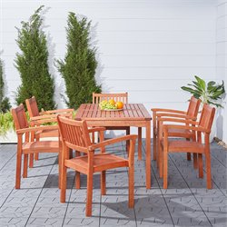 Vifah Malibu 7 Piece Wood Patio Dining Set