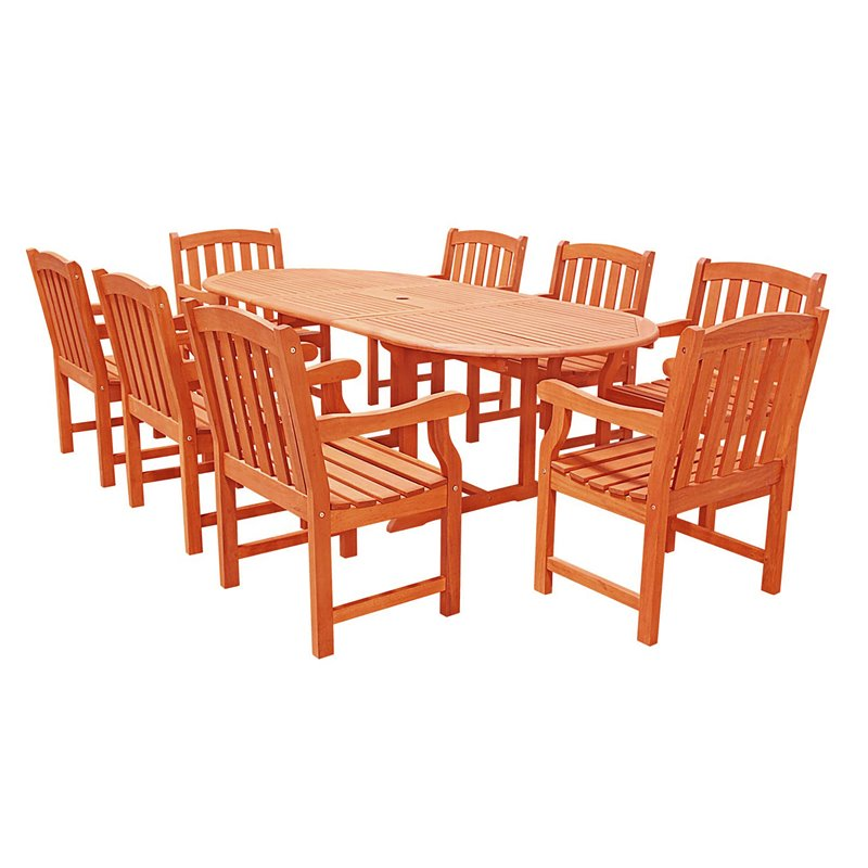 9 piece wood patio dining set v144set4 for Jardin 8 piece dining set