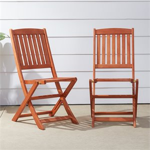 Vifah Outdoor Wood Folding Bistro Chairs (Set of 2)