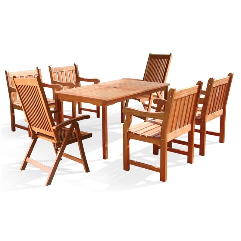 Vifah 7 Piece Wood Patio Dining Set