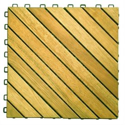 Vifah Premium Plantation Teak Interlocking Deck Tile - 12 Slats