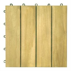 10-Pack Plantation Teak Interlocking Deck Tile - 4 Slats