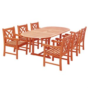 Vifah Oval Extension Table Outdoor Dining Set