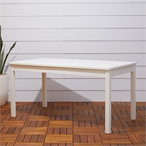 Vifah Bradley Traditional Outdoor Wood Rectangular Dining Table