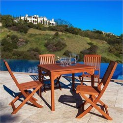 Vifah Malibu 5 Piece Wood Patio Dining Set